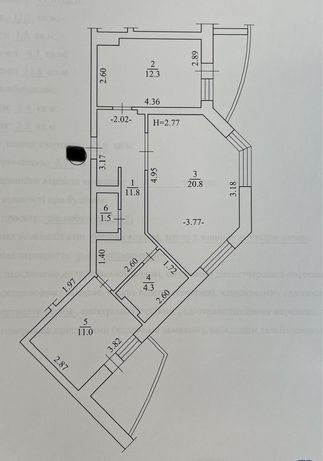 Продам квартиру 2 ком. ул.К.шлях 95 ( центр)