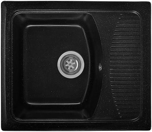 Гранитная кухонная мойка Mongran 58*50(чёрная)чаша с крылом