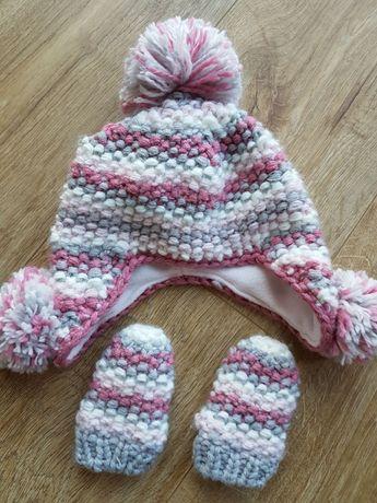 czapka zimowa i rękawiczki dla dziewczynki