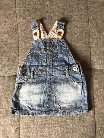 Sukienka jeansowa dżinsowa na szelkach f&f 74
