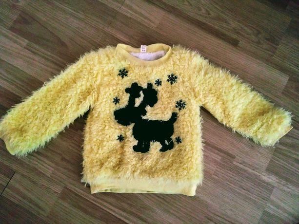 Кофта свитер для девочки теплый новогодний рождественский