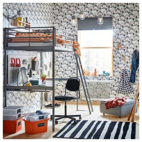 IKEA SVARTA łóżko pietrowe z blatem i materacem antresola