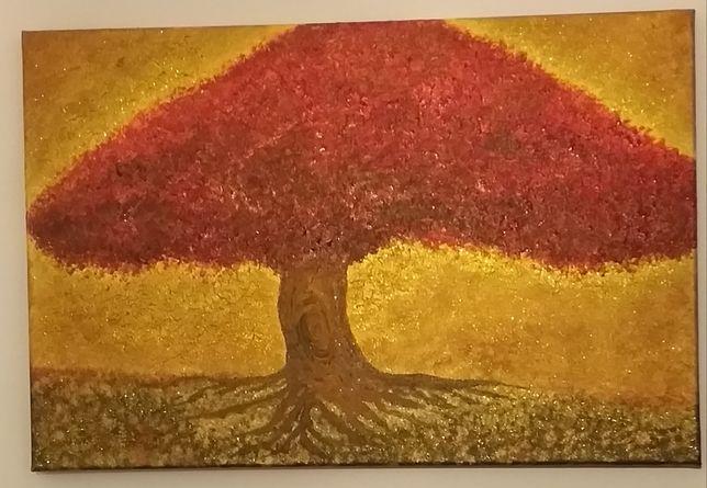 Quadro com árvore vermelha.