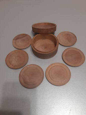 Новые деревянные блюдца 6шт в коробке