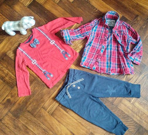 Zestaw spodnie bluzeczka koszula 86 18-24m-cy