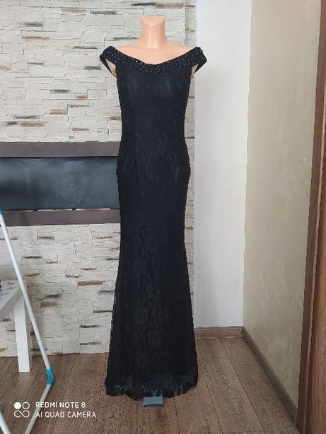 Czarna elegancka długa sukienka wieczorowa koronkowa hiszpanka XS-S-M