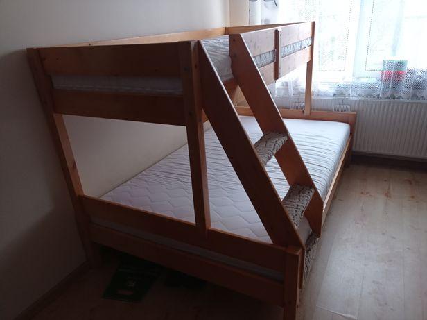 Łóżko piętrowe drewniane 3 osobowe bez materacy