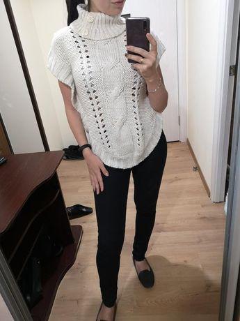 Вязанный свитер пончо/ жилетка/ свитер с коротким рукавом