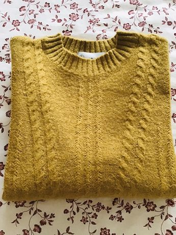 Malha lã mohair amarela vintage