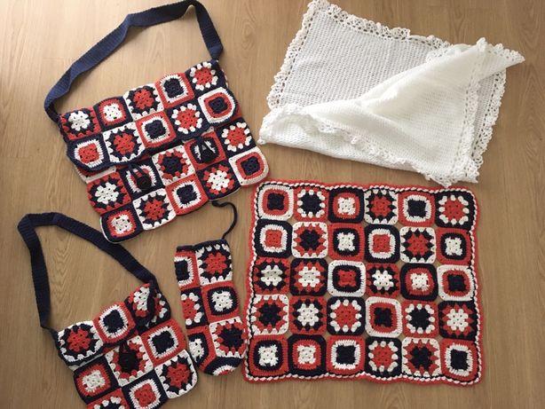 Conjunto crochet de acessórios para bebé + manta quentinha. Novo