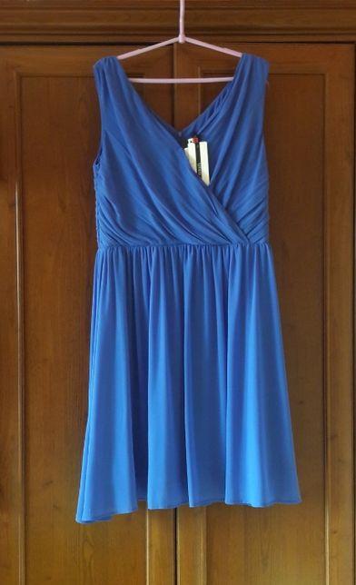 Zwiewna plisowana niebieska sukienka wesele komunia chrzciny Monnari