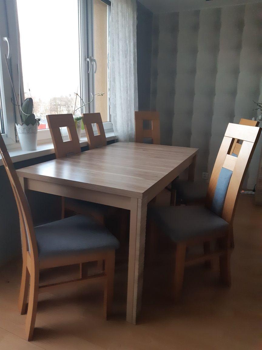 Stół rozkładany, krzesła, krzesło, ława, BRW, Raflo