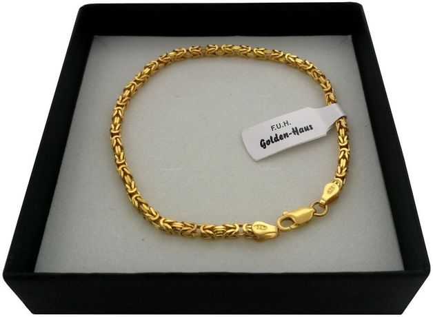 Bransoletka splot królewski 24k złoto + srebro 925 GWARANCJA PREZENT!