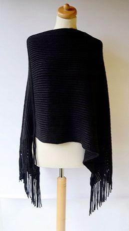 Ponczo Czarne Prążki One Size Prążkowane Frędzle Zara H&M Mango C&A