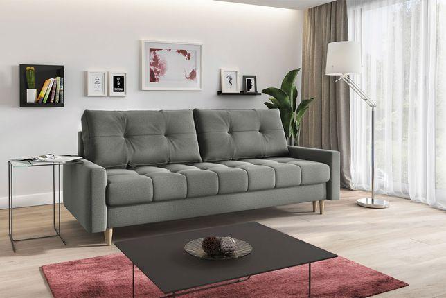 Szara skandynawska rozkładana kanapa z funkcją spania