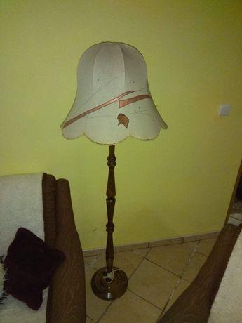 Lampa stojąca drewniana podłogowa abazur prl