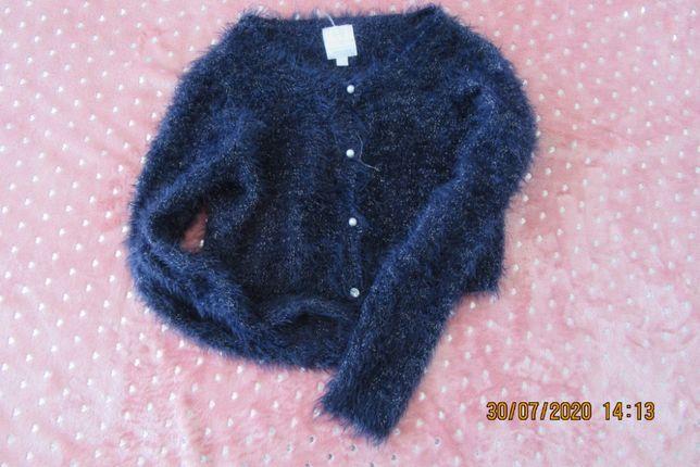 Sweter dla nastolatki dziewczynki niebieski z Smyk 164 futerko śliczny