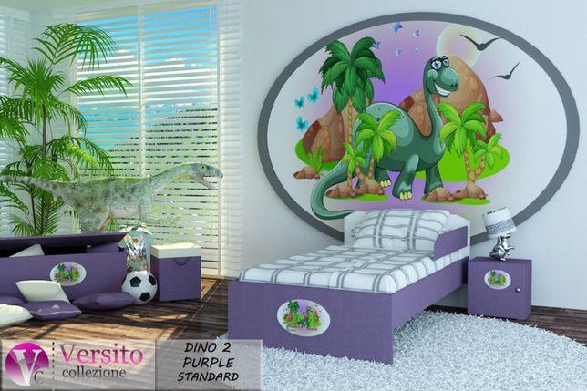 Łóżko dla dziecka z grafiką dinozaurów,łóżeczko dziecięce 3 wymiary.