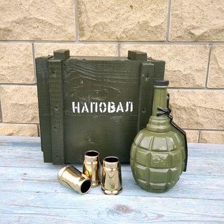 Граната Ф1 в деревянном ящике, подарочный набор для мужчины военного