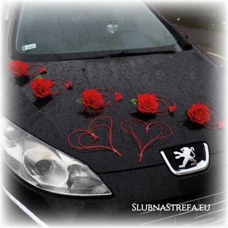 Dekoracja na auto ślubne dekoracja samochodu kwiaty różne kolory