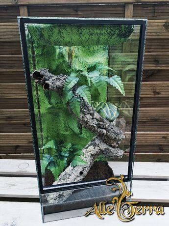 Terrarium szklane o leśnym wystroju 40x40x80 cm AlleTerra