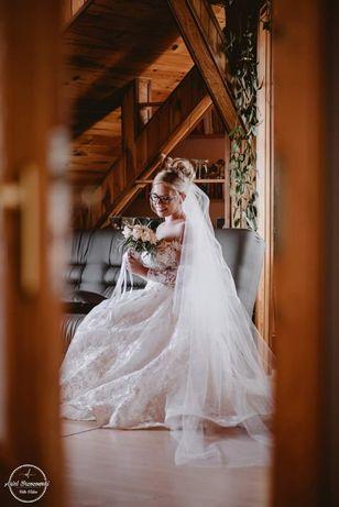 wyjątkowa suknia z welonem, długi rękaw, z trenem- Milla Nova Azalia