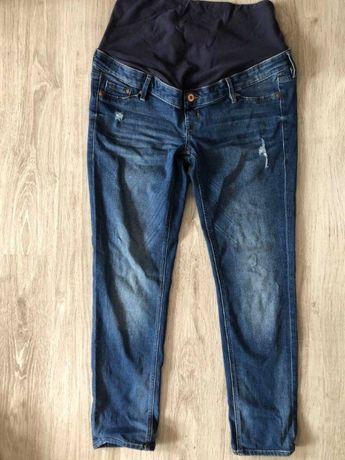 h&m mama skinny high rib spodnie jeansowe z pasem r. 42 elastyczne