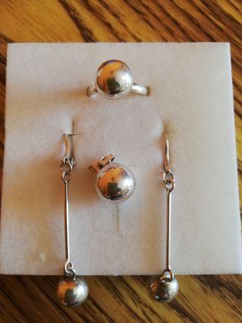 Kuleczkowy komplet srebrny o próbie 925