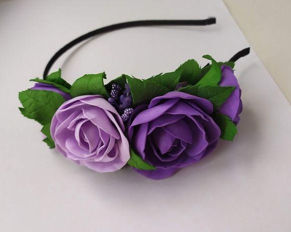 Обручи, ободки для волос с розами из фоамирана