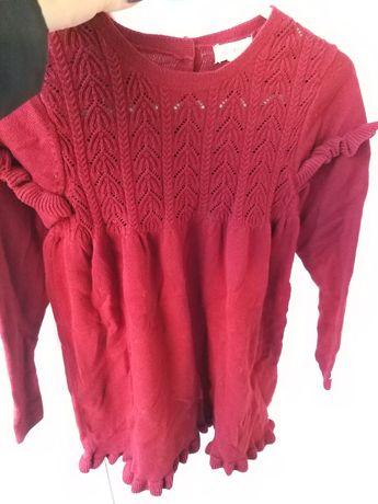 Dzianinowa Sweterkowa Bordowa Czerwona Sukienka Newbie 110