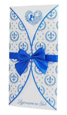 Zaproszenie na ślub, na wesele - kolekcja ROYAL BLUE + koperta