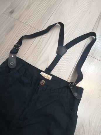 Spodnie eleganckie chłopięce z szelkami 128