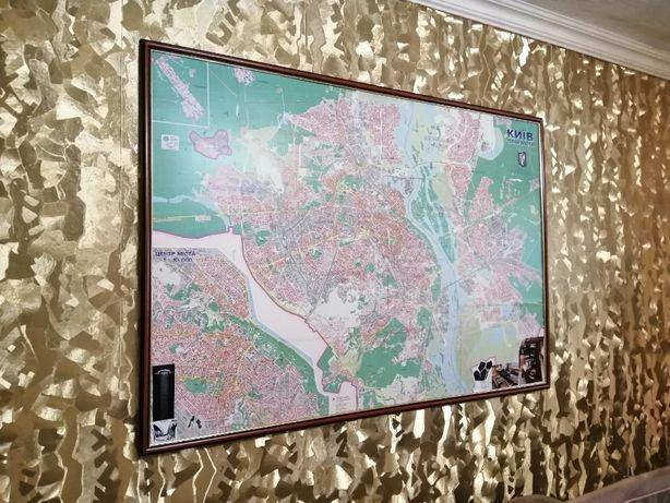 Большая Карта Киева 115*150 см на холсте