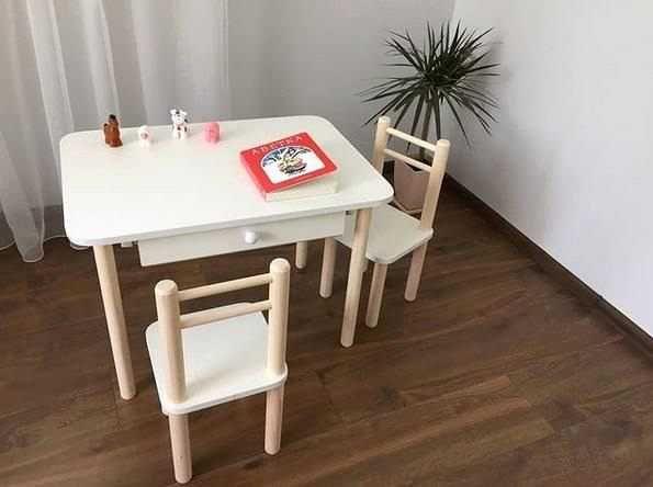 Стол и стул детский вырезы корона цвет персик(арт 30).Для детей мебель