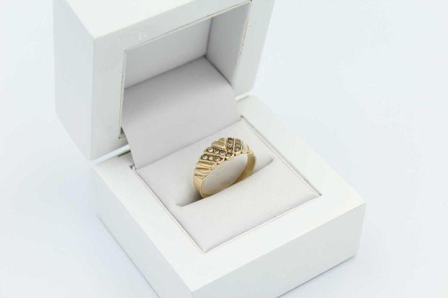 Ładny złoty pierścionek z oczkami  -585- R. 17