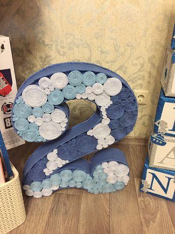 Декорации на день рождения, два года, двойка, цифра, шары, шарики