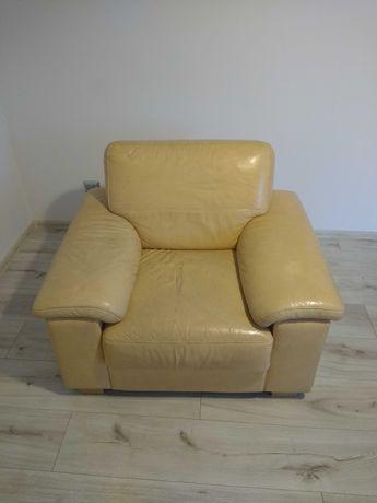 Fotel skóra naturalna jasny beż Agata Meble Gala