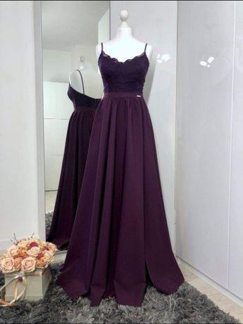 Śliwkowa, długa sukienka wieczorowa