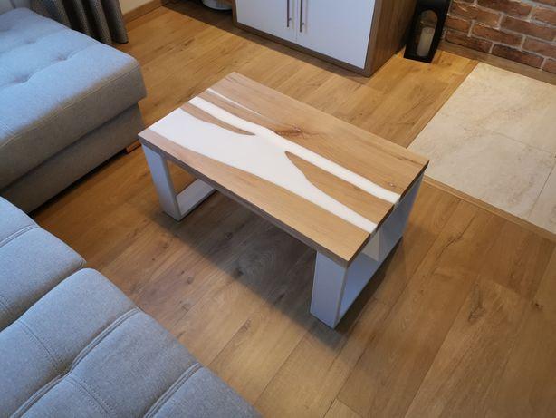 Stolik kawowy, dębowy z żywicą, river table, kanion, 50x85x41cm