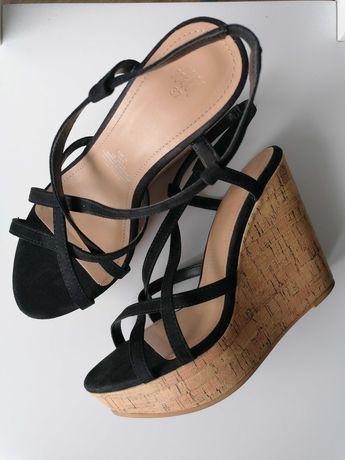 Buty koturny sandały H&M, rozmiar 37, czarne