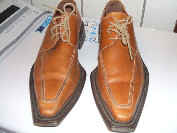 buty meskie mentor 43 skórzane półbuty pantofle kowbojki miodowe