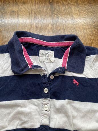 Granatowo - biała koszulka polo, rozmiar S