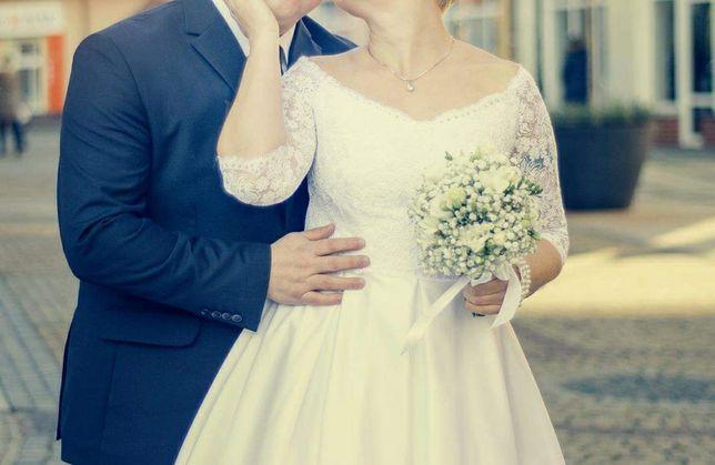 Krótka suknia ślubna+ niebieska podwiązka gratis