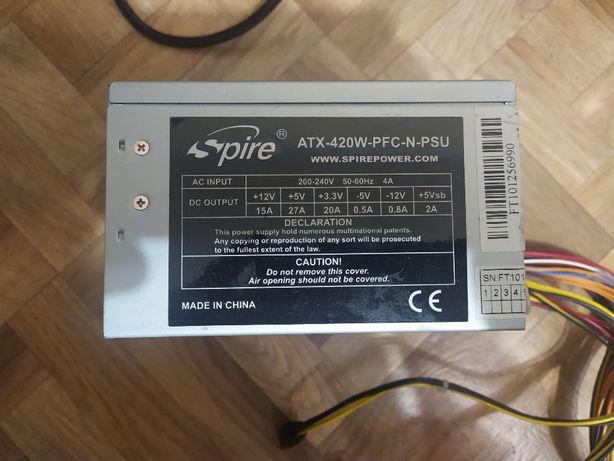 Блок живлення Spire atx-420w-pfc-n-psu + Кабель живлення
