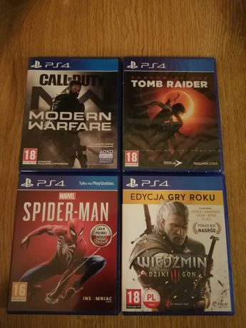 PS4: Spider-Man, Shadow of the Tomb Rider, Call of duty MW, Wiedźmin 3
