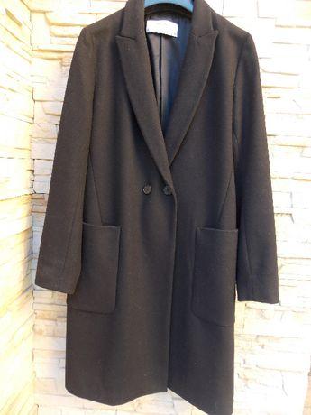 ZARA, płaszcz wełniany, czarny, rozm. 38, jak nowy!