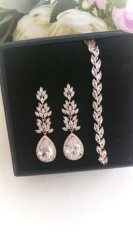 Nowy komplet biżuterii ślubnej okazjonalnej wieczorowej rose gold