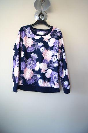 fioletowa granatowa bluzka w kwiaty roze rozana 38M 36S pizama gora