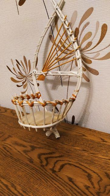 Wiklinowy kwietnik ścienny - Handmade