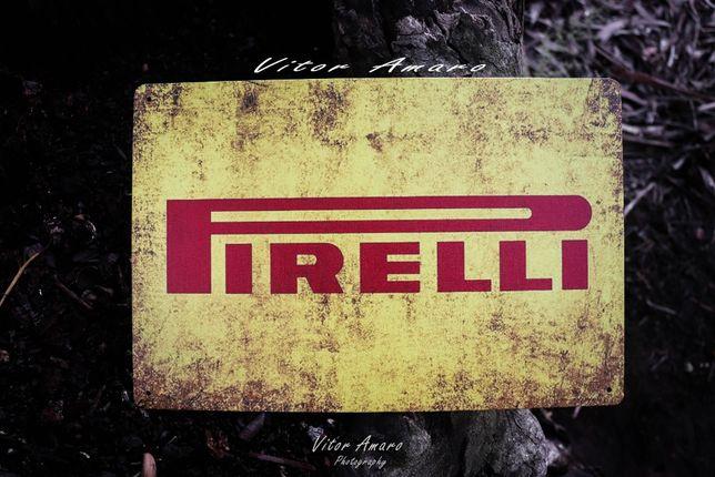 Placa/Chapa de Metal Vintage/Retro Pirelli   NOVA